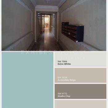 idea reforma vestíbulo en Barcelona estudio cromático y pintura de vestíbulos en Barcelona, pintar de molduras techos y paredes pintores